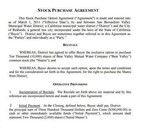stock purchase agreement template stock purchase agreement 10 documents in pdf