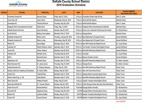 Dekalb School Calendar Dekalb Graduation Schedule 2016 Dekalb Schools Fact Checker