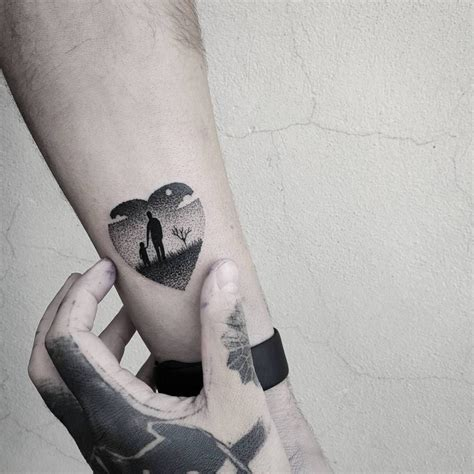 father and daughter tattoos shaped and landscape