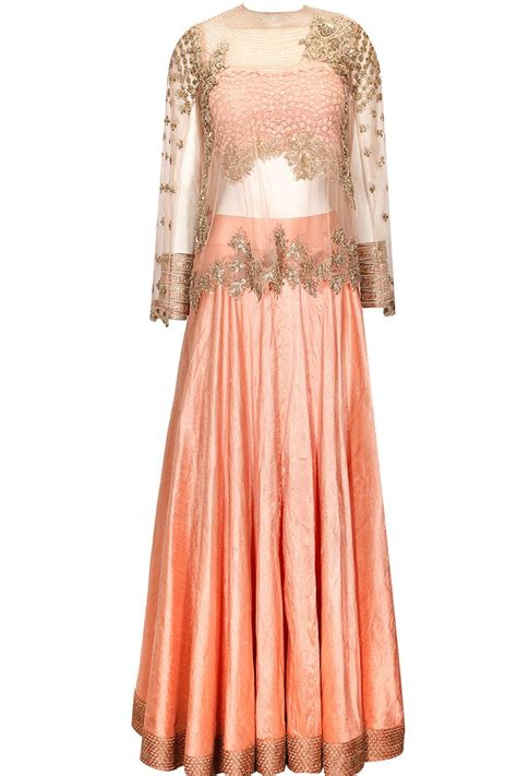 cape designs peach lehenga with embellished cape available only at