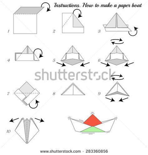 origami cardboard boat how make paper boat stock vector 63190780 shutterstock