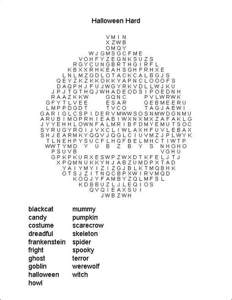 printable halloween word search difficult hard halloween wordsearch