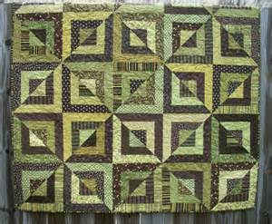 Brown Quilt Geometric Quilt Green Brown Handmade Beveled By