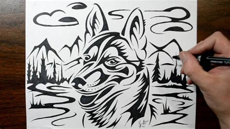 tattoo pen for dogs how to draw a husky dog tribal tattoo design style youtube