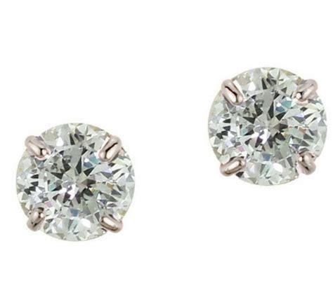 diamonique 3 50 ct tw 100 facet stud earrings 14k gold