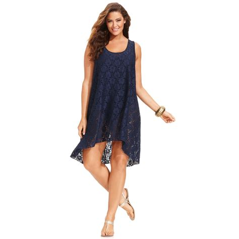 New High Low Fit Dress lyst gottex plus size lace high low dress cover up in blue