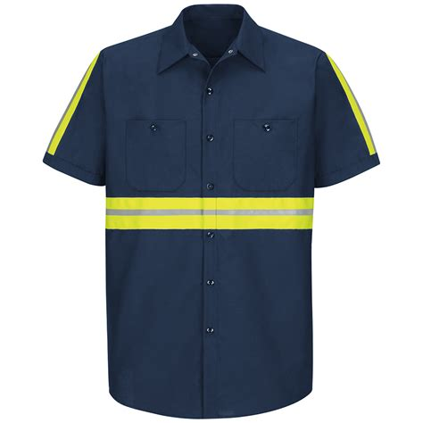 Shop red kap men s large navy with yellow green reflective trim poplin polyester blend short
