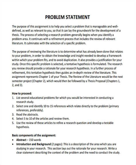 business problem statement template 50 statements exles sles in pdf