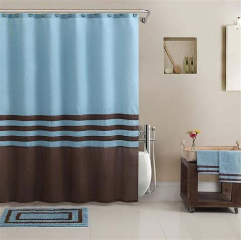 Beautiful Blue Brown Shower Curtain Bath Towel Rug 13 Brown And Blue Bathroom Accessories