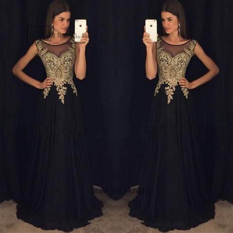oro negro de encaje vestidos de noche largos vestidos 2017