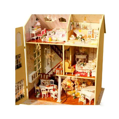 unique doll houses wood handmade diy luxurious toys model house kit big villa unique doll house toy with furnitures