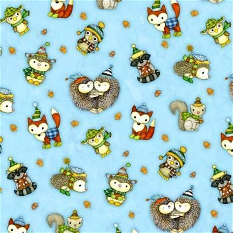 Owl Quilting Fabric by Cotton Quilt Fabric Hedgehugs Hedgehog Fox Raccoon Owl