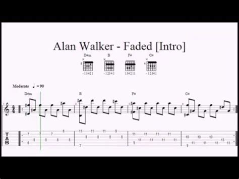 alan walker chord alone alan walker faded easy guitar lesson original notes