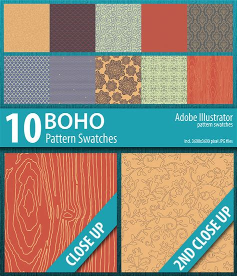 wood pattern illustrator swatch 10 boho illustrator pattern swatches by doucettedesigns