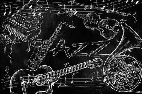 jazz wallpaper black and white jazz instruments music background on dark blackboard photo