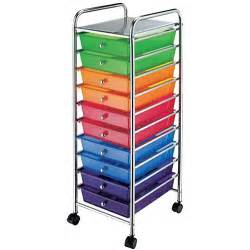Colorful Drawers On Wheels Chrome Multi Color 10 Drawer Scrapbook Storage Trolley
