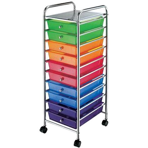 colored drawer cart chrome multi color 10 drawer scrapbook storage trolley