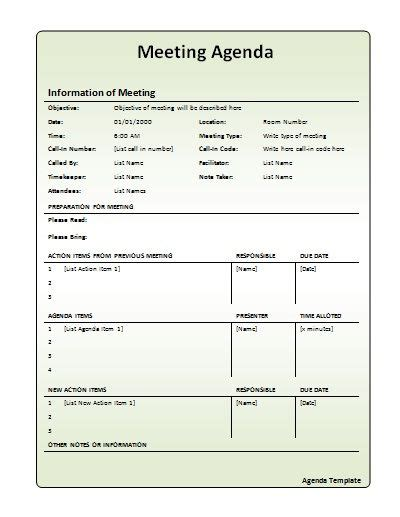 staff meeting agenda 7 free samples examples format