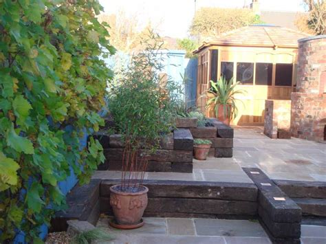 howard tracey s mediterranean garden with railway sleepers