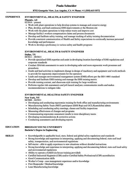 Environmental Health & Safety Engineer Resume Samples   Velvet Jobs
