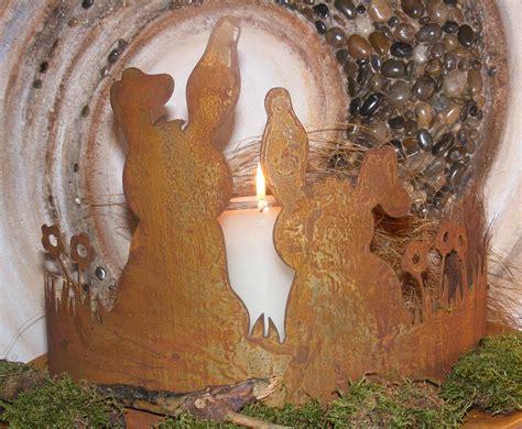 garten deko hase niedliches hasenpaar aus metall in rostoptik tisch