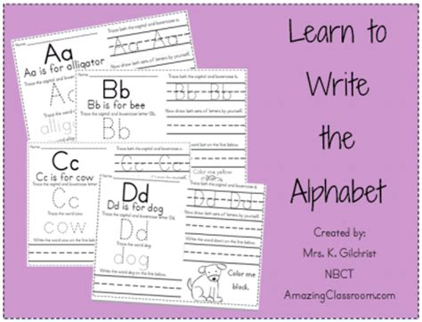 learn to write the alphabet printable worksheet with