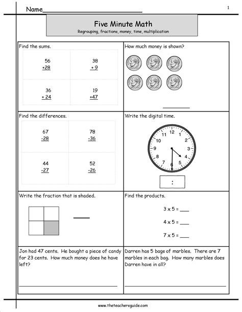 printable math minute worksheets five minute math review worksheets from the teacher s guide
