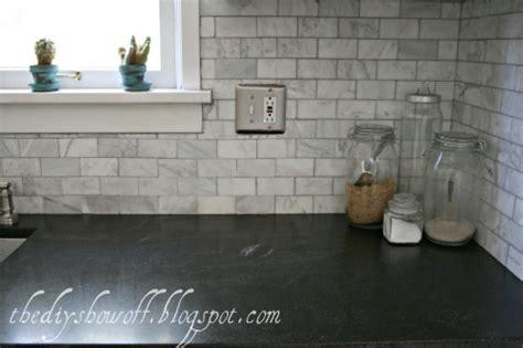 Marble Tile Kitchen Backsplash before and after farmhouse kitchen makeoverdiy show off