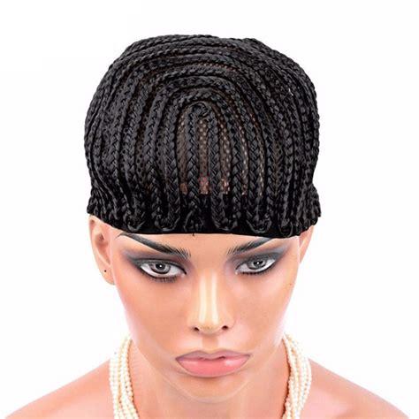 black men s medium braided wigs cornrows wig cap with adjustable strap easier to sew in