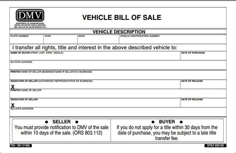 free oregon vehicle bill of sale form pdf template