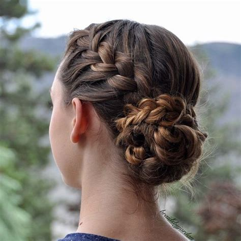 braided hairstyles into a bun french braids buns and braids on pinterest