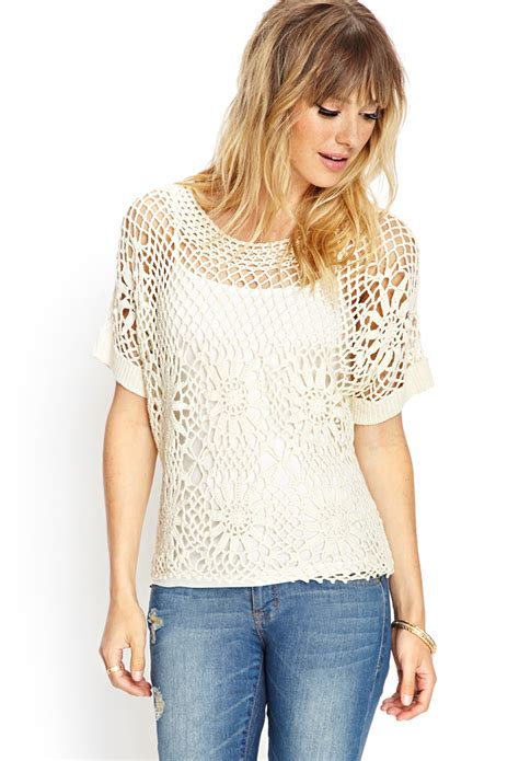 forever 21 knit top forever 21 crochet lace knit top in white lyst