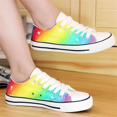 sneakers for adults rainbow color pattern painted canvas sneakers