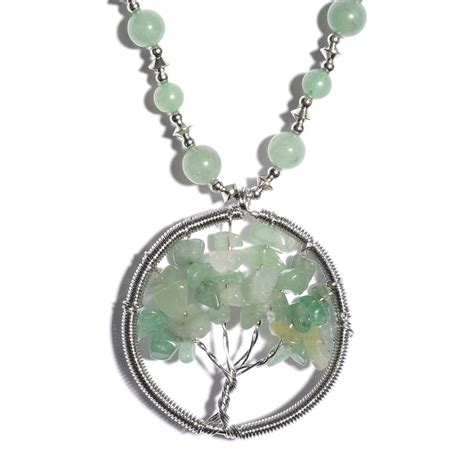 Exclusive Deal 20 At Givingtreejewelrycom by Green Aventurine Stainless Steel Tree Of Necklace 20