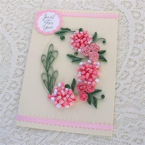 quilling greeting card paper quilled pink by enchantedquilling