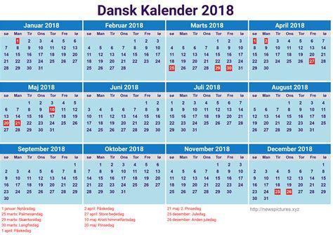 Kalender For 2018 Med Helligdage Dansk Kalender 2018 Newspictures Xyz