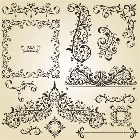 Floral Pattern Frame Vector | free set of vintage vector floral pattern borders and