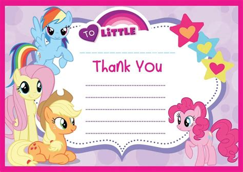 my pony thank you card template my pony thank you cards notes paper letters with or