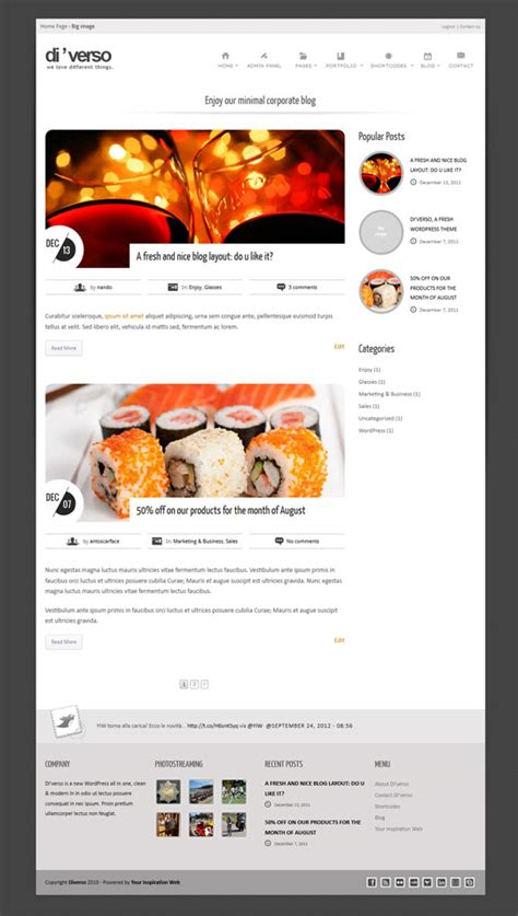 theme x blog page di verso a html template versatile and responsive