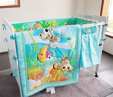 Fish Ocean Baby Bedding Set Cot Crib Bedding Set For Girls Fishing Crib Bedding