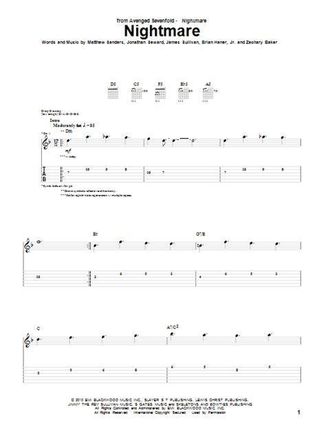 tutorial drum nightmare nightmare guitar tab by avenged sevenfold guitar tab 75409