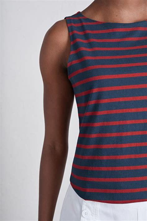 boat neck vest top sailor vest organic cotton boat neck breton striped top