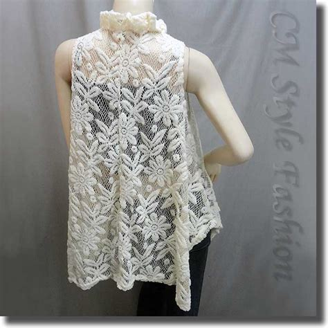 Beige Flower Pattern S M L Blouse 44298 sheer flower lace a line flowy tunic top beige