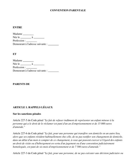 Demande De Garde Exclusive Lettre convention parentale mod 232 le exemple word et pdf