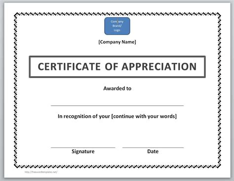 certificate of appreciation to sponsor office templates
