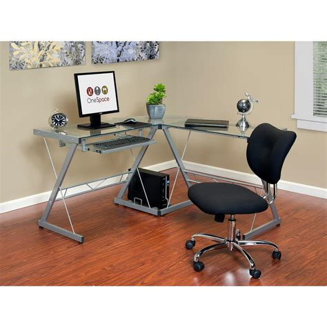 glass l shape computer desk with silver frame finish onespace ultramodern glass silver and clear l shape desk