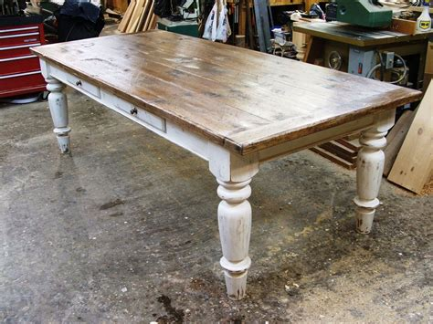 Farmhouse Kitchen Table With Drawers White Scrubbed Pine Farmhouse Table I The Look Of A Sturdy Farm Table For Both Meals And