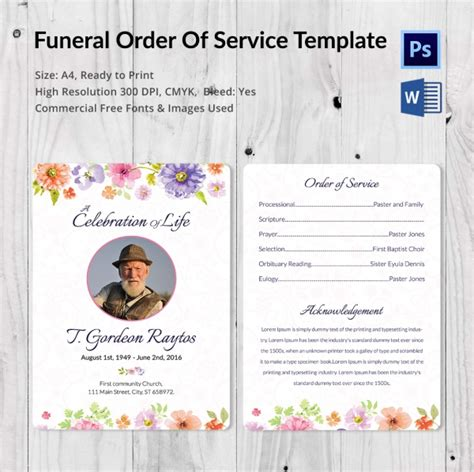 ordering a celebration of card template 5 funeral order of services word psd format
