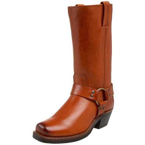 frye frye womens harness 12r boot in brown russet pebbled