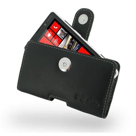 Nokia Lumia 820 Premium Leather Flip Cover Dompet Sarung Casing Nokia Lumia 820 Leather Holster With Belt Clip